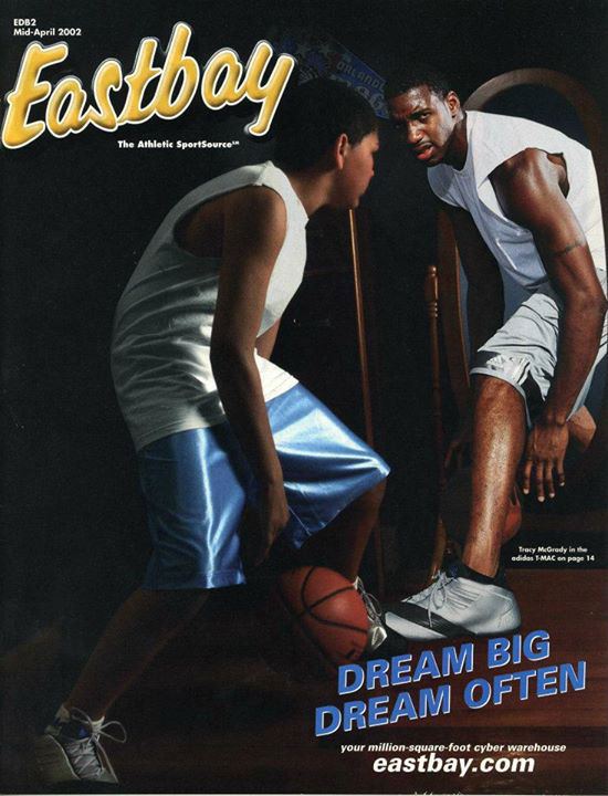 Eastbay Catalog Cover featuring Tracy McGrady in the T-Mac 1