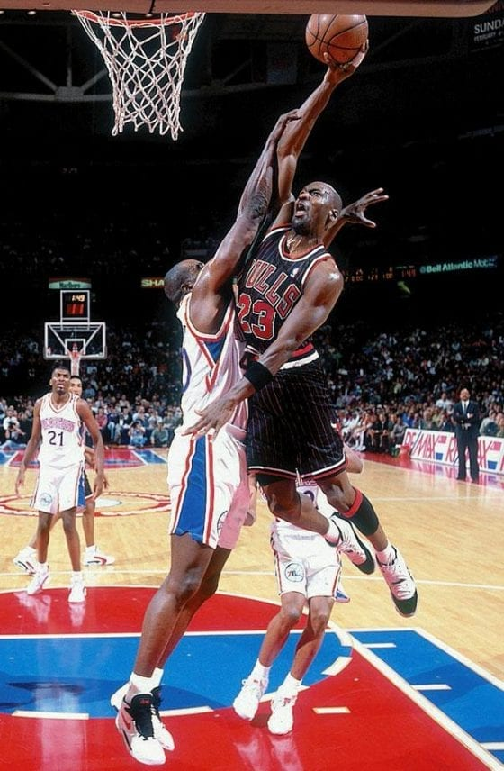 Michael Jordan dunking against the 76ers