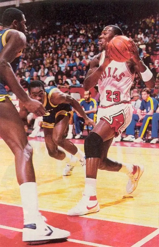 Michael Jordan wearing the Nike Air Ship as a rookie