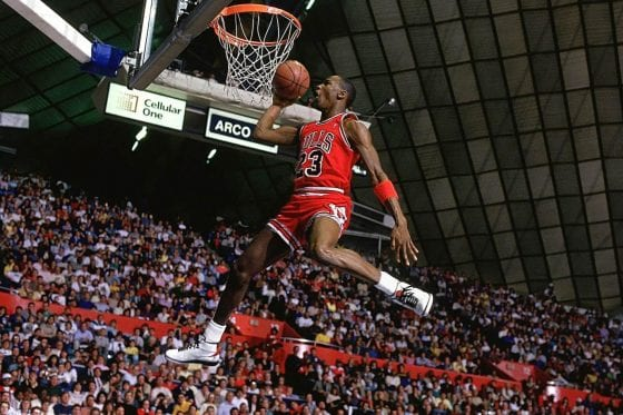 Michael Jordan Photos: MJ in the Air Jordan 2 at the Slam Dunk Contest in 1987