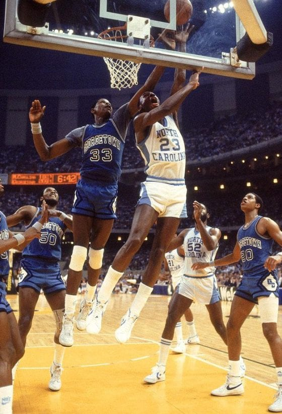 Michael Jordan against Patrick Ewing in college