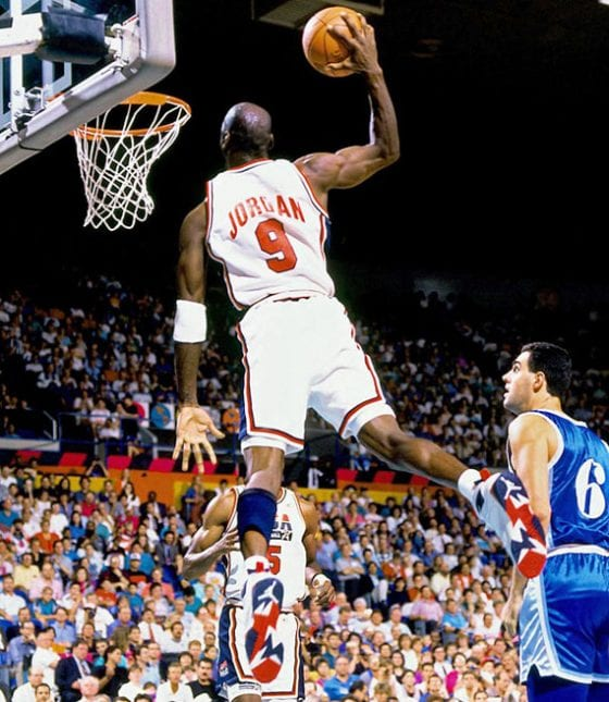Michael Jordan in the Air Jordan 7 Olympics