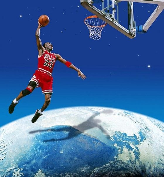 Michael Jordan dunking over the globe
