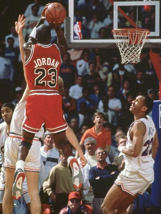 Michael Air Jordan Photos - The Shot Over Craig Ehlo (Cavaliers) in the Air Jordan 4