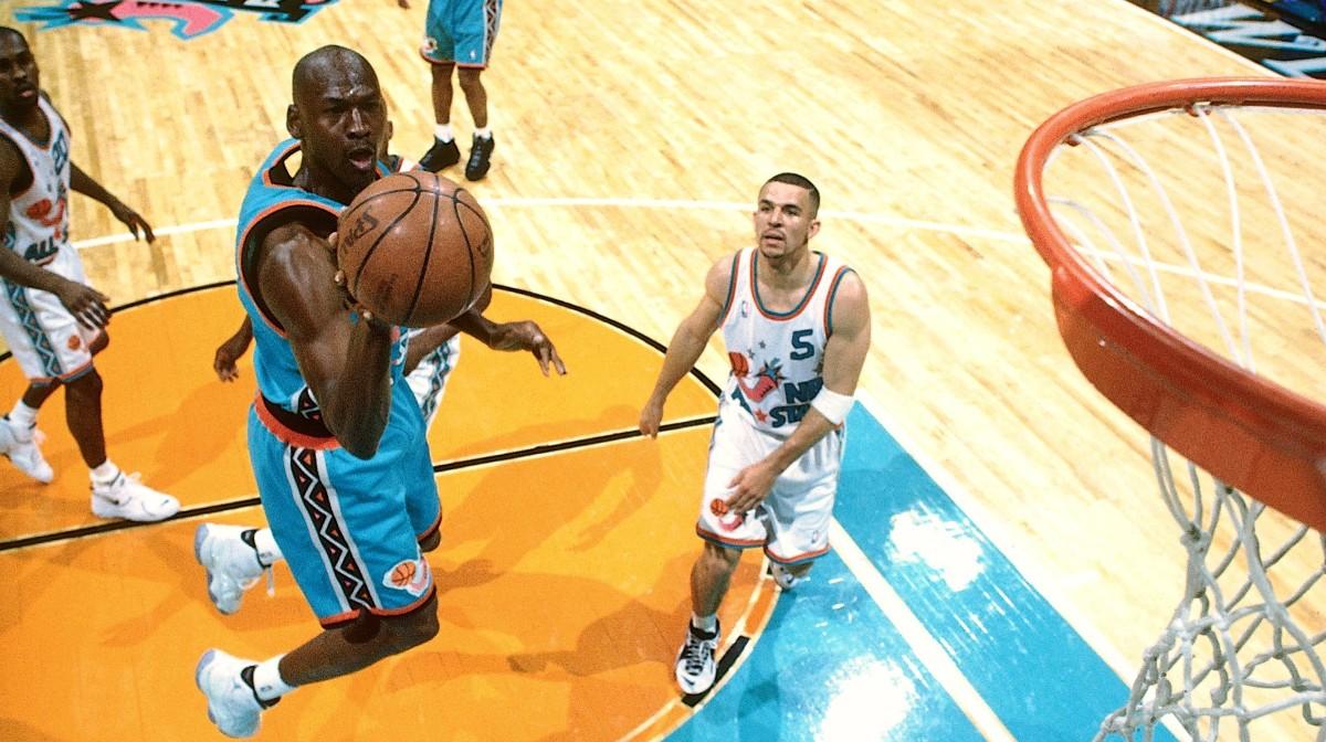 """Michael Jordan in Air Jordan 11 """"Columbia"""""""