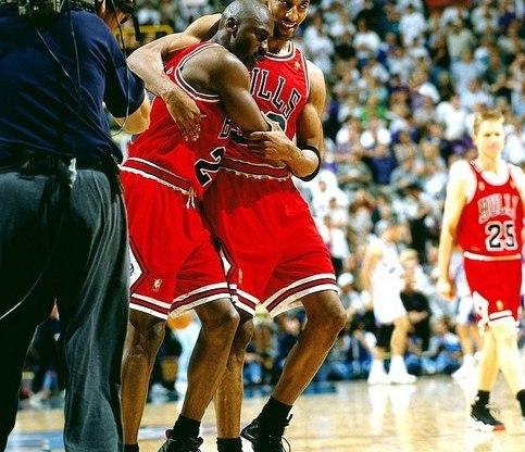 Michael Jordan in Air Jordan 12 Black-Varsity Red, Scottie Pippen in Nike (Zoom) Air Pippen P.E.