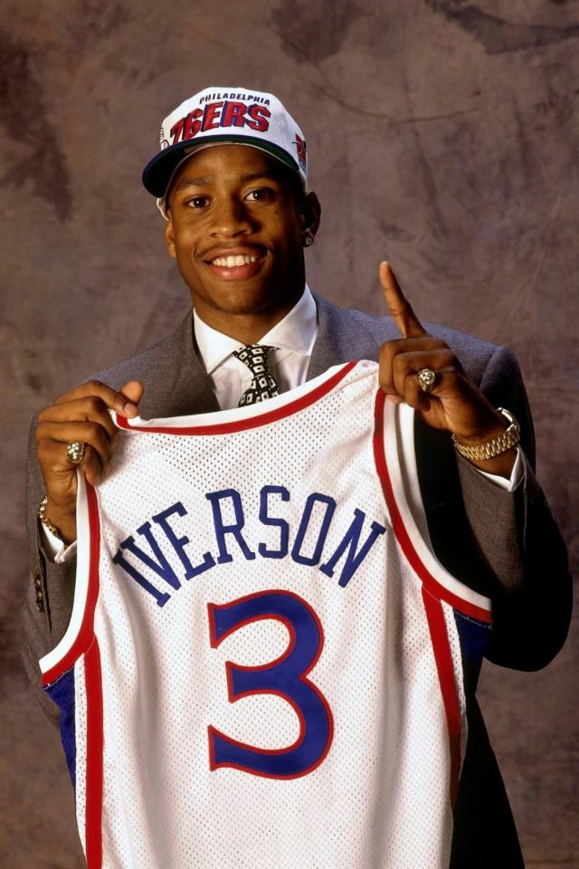 Allen Iverson after being drafted by the 76ers