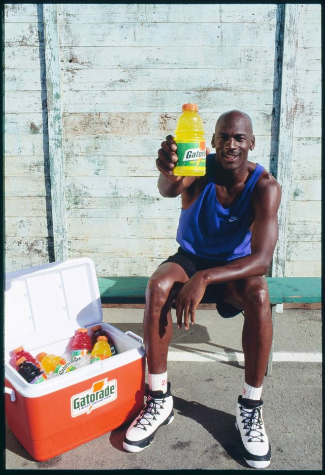 Michael Jordan in the Air Jordan 9 for a Gatorade photoshoot.