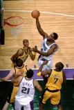 Chris Webber scores on Reggie Miller and the Indiana Pacers.