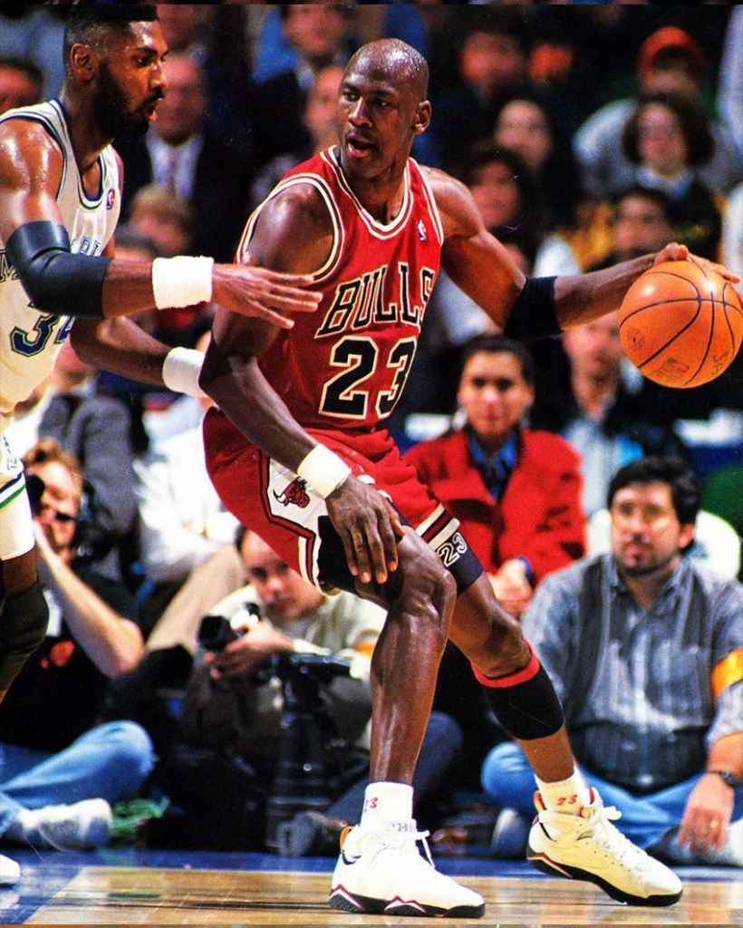 Michael Jordan wearing the Air Jordan 7 Cardinal