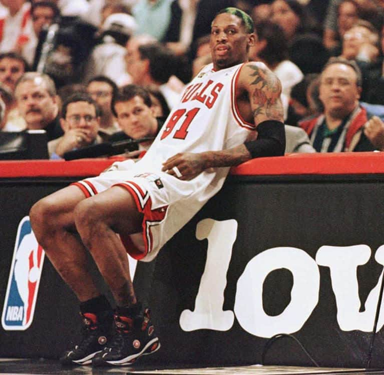 Dennis Rodman waits to check in wearing the Converse D-Rod.