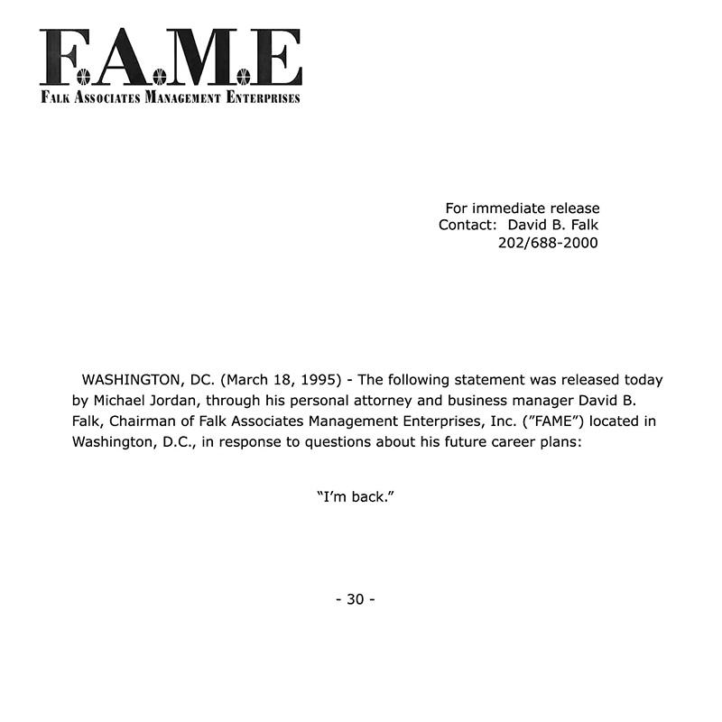 "Michael Jordan ""I'm Back."" Letter Fax"