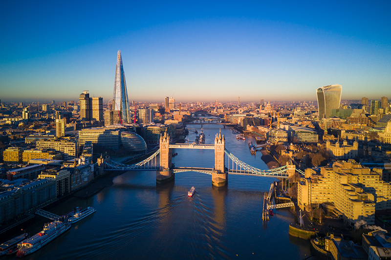 Aerial view of London and the Tower Bridge, England, United Kingdom