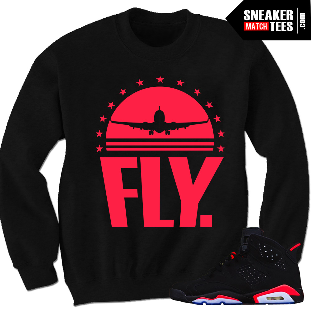 Black Infrared 6s sneaker shirts crewnecks streetwear clothing to match