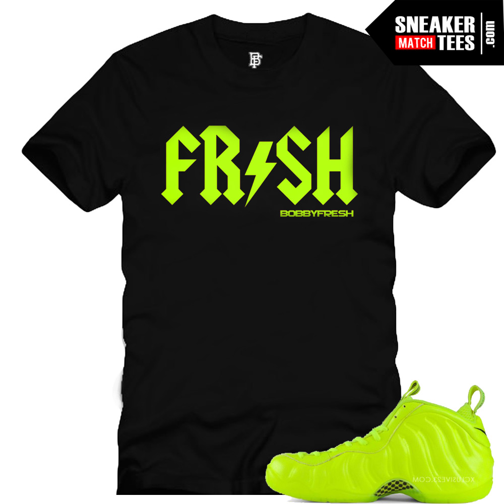 Foamposite Volt shirts to match. Sneaker tee shirts that match the Volt Foamposites. Nike Foamposite Pro Volt matching collection of shirts sneaker tees.