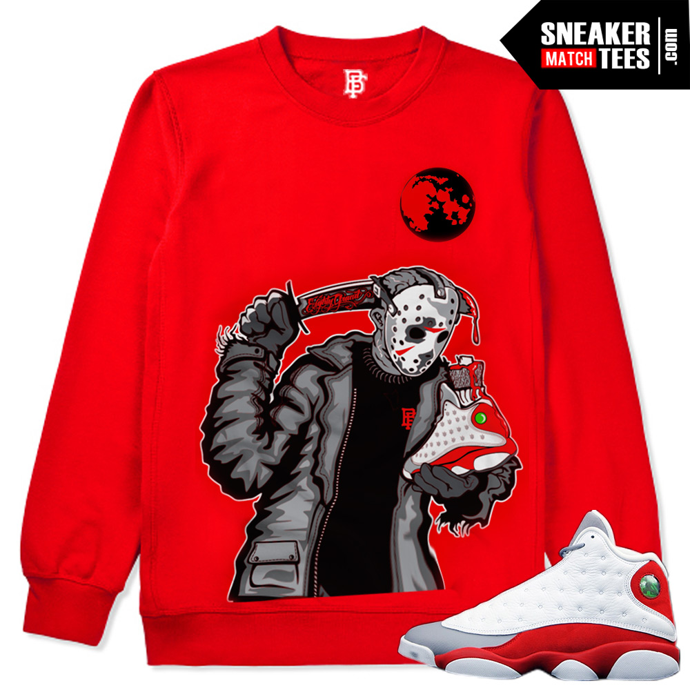 Grey-toe-13s-sweaters-and-shirts-to-match-Streetwear-crewnecks-Retro-13-Grey-toe Friday the 13th Jason