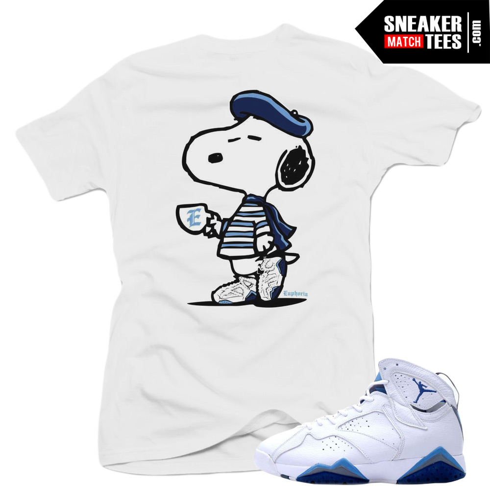 uk availability c9d47 184d8 French Blue 7s Matching Sneaker Tees Shirts|French Snoopy Sneaker Tees  Shirt White