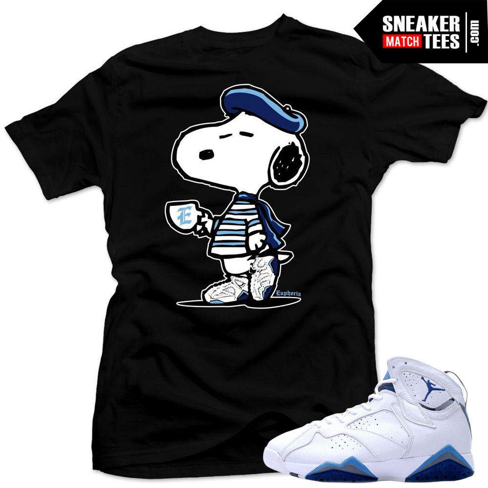finest selection 15c2e 33480 French Blue 7s Matching Sneaker Tees Shirts|French Snoopy Sneaker Tees  Shirt Black