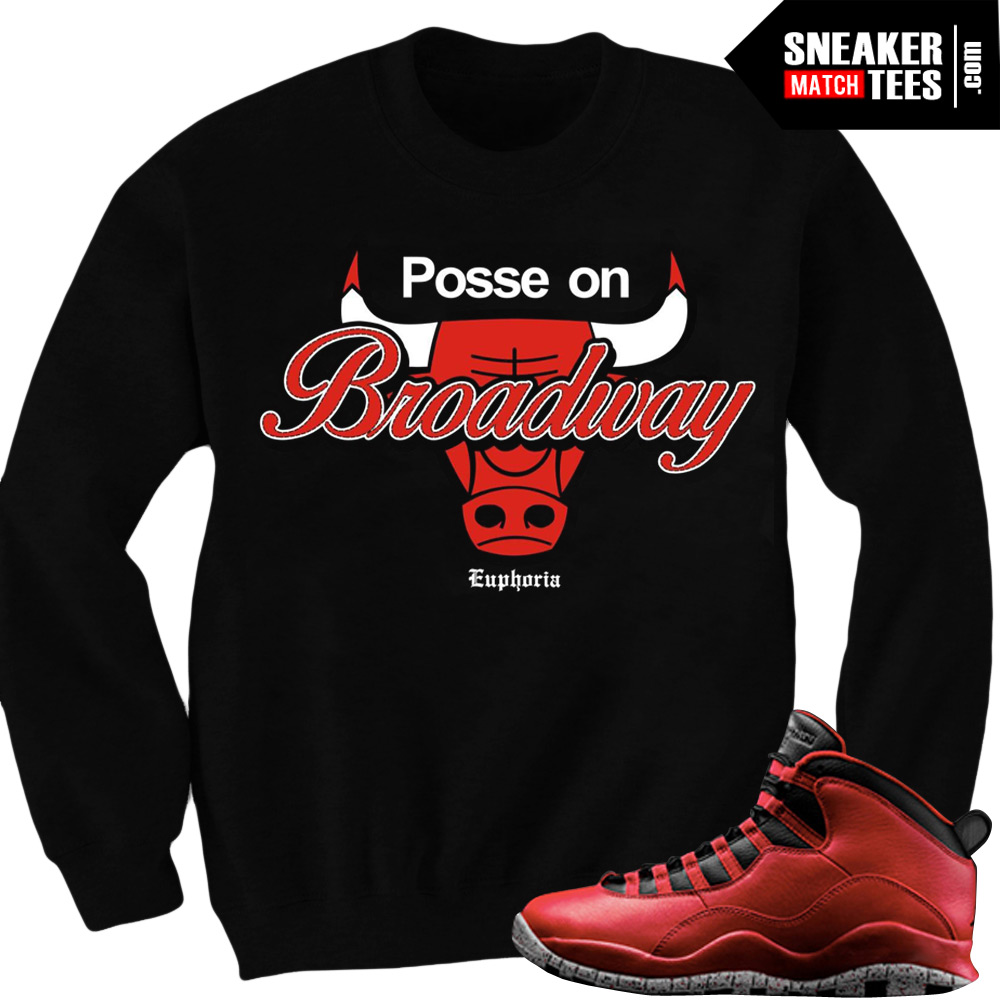 sports shoes a76f6 37ecd Bulls over Broadway 10s matching sneaker tees shirts |Posse Sneaker Tee  BLACK CREWNECK | Streetwear Online