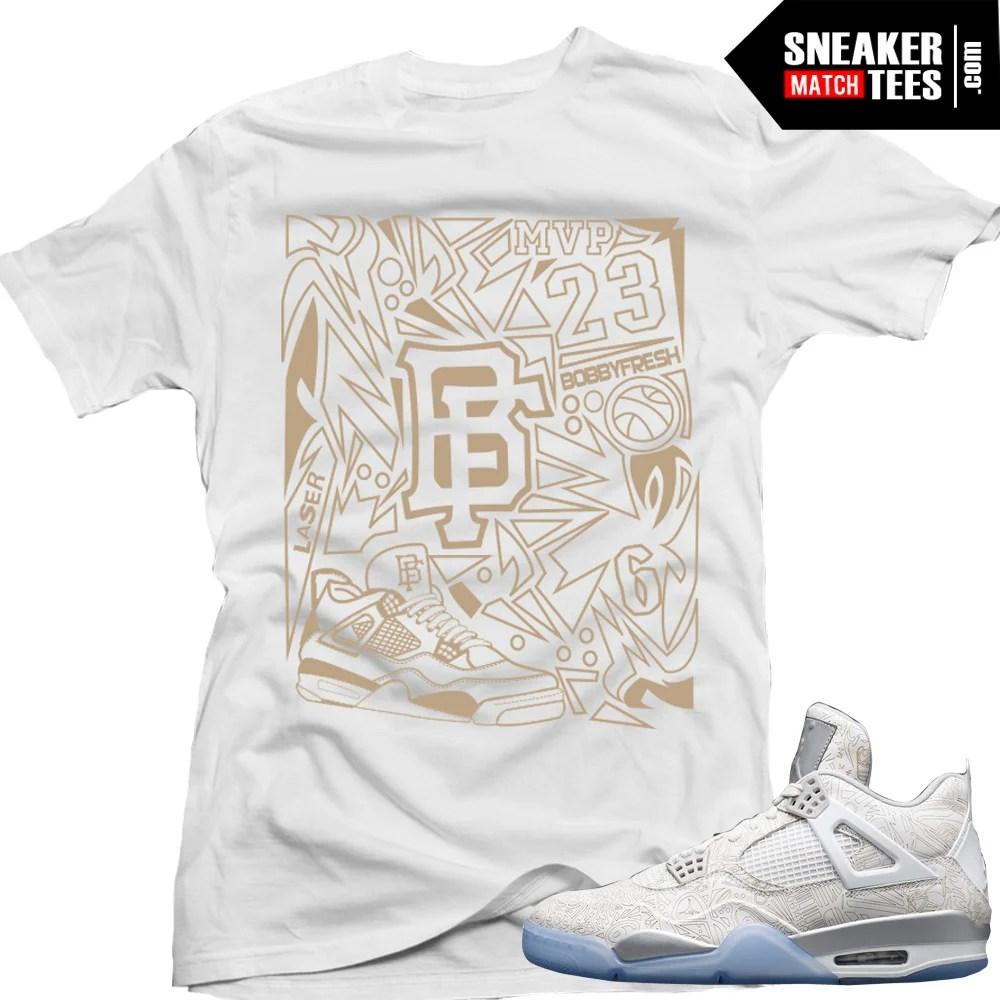 "12fbf0682e1 Jordan Retro 4 Laser matching shirt ""Laser Fresh"" sneaker tee White"