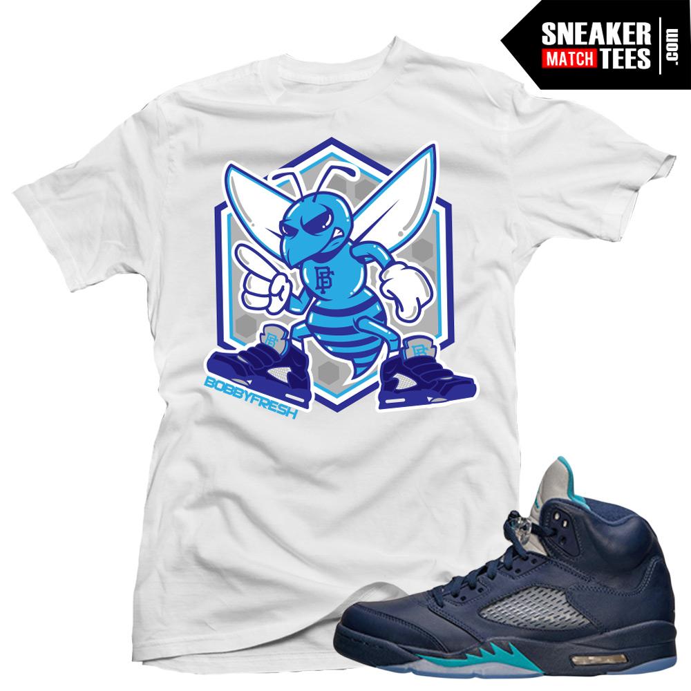 """c3d909e1a658 Jordan 5 Hornets Midnight Navy shirts to match """"Fresh Hornet"""" White Sneaker  Tees shirt"""