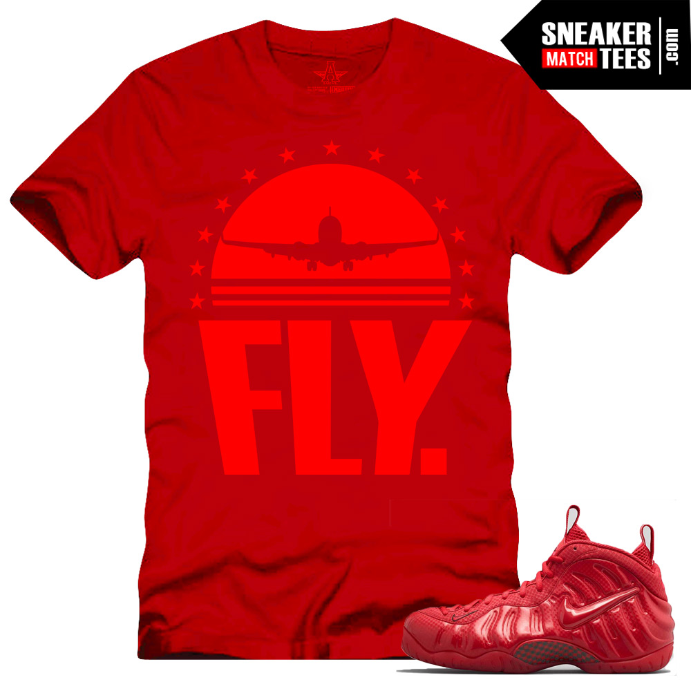 """buy popular 007de 2f9e0 Gym Red Foamposite shirts to match """"Fly"""" Red Sneaker Tees shirt"""