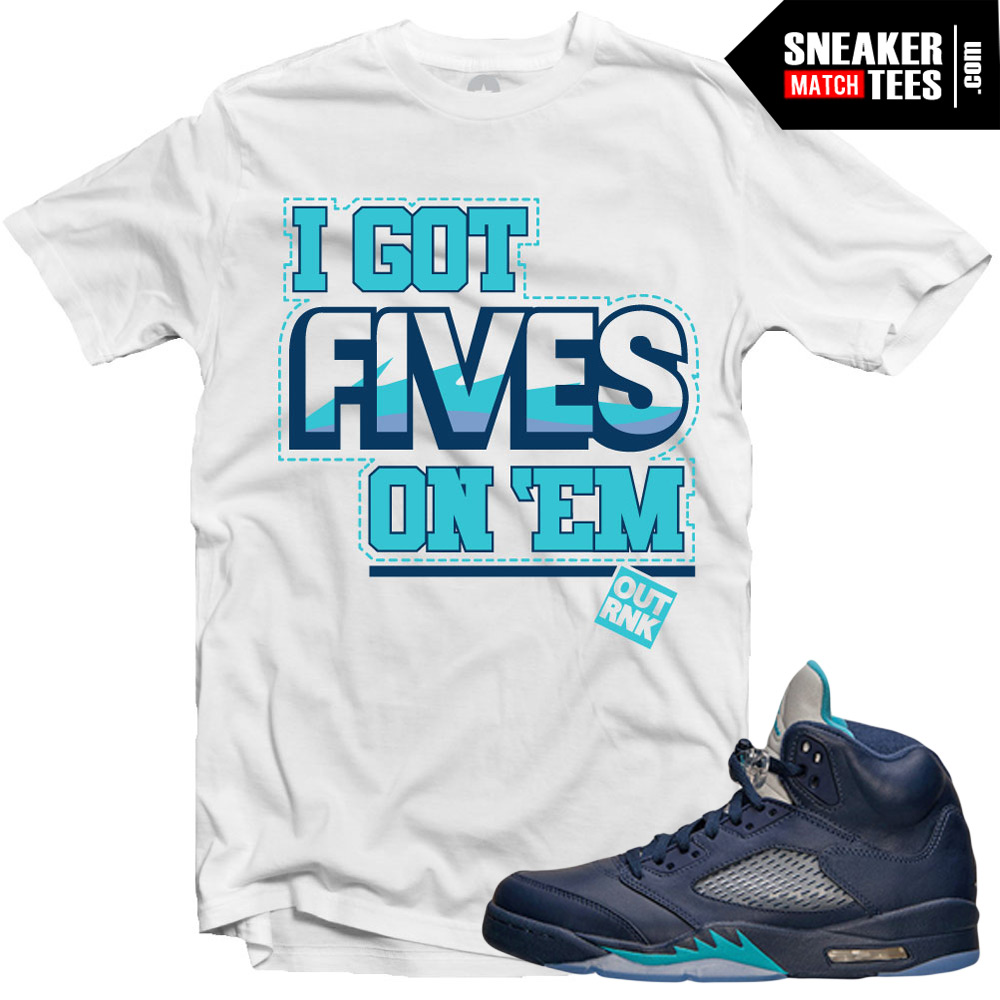 "83b1edb2cdd Jordan 5 Hornets Midnight Navy shirts to match ""Five on Em"" White Sneaker  Tees shirt"