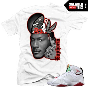 Jordan VII Hare shirt to match