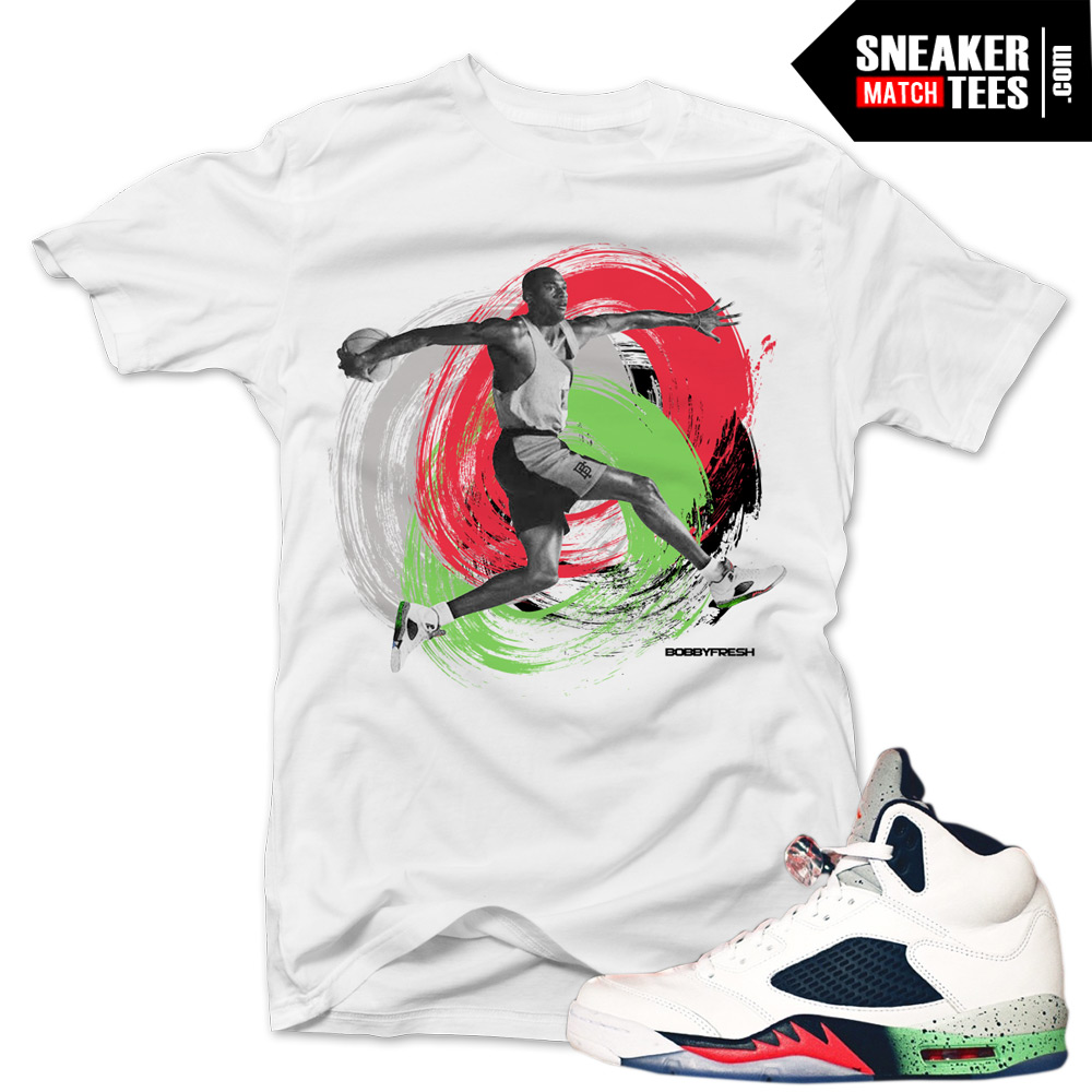 "dd64faa07bee Jordan 5 Poison Green shirts to match ""Canvas"" White Sneaker Tees shirt"