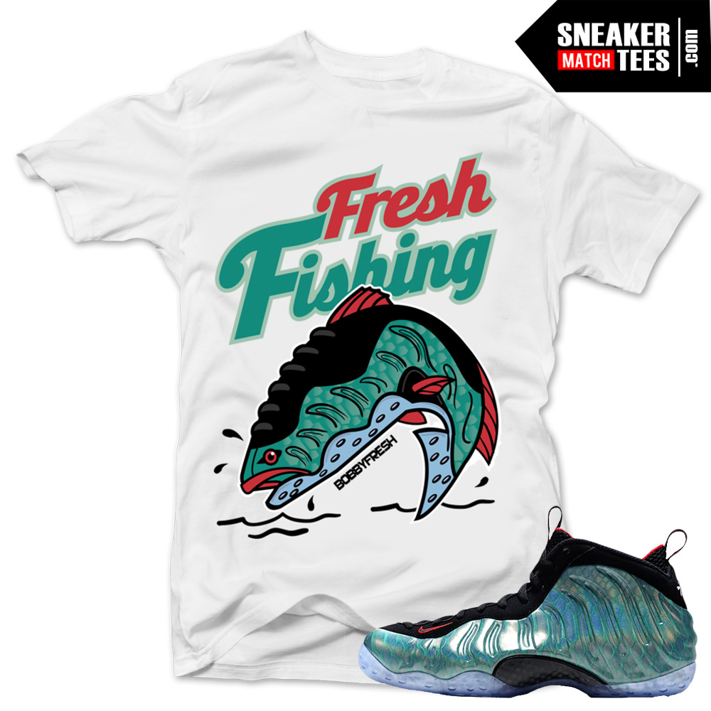 "b0419c500c529 Gone Fishing Foamposite shirts to match ""Fresh Fishing"" White Sneaker Tees  shirt"