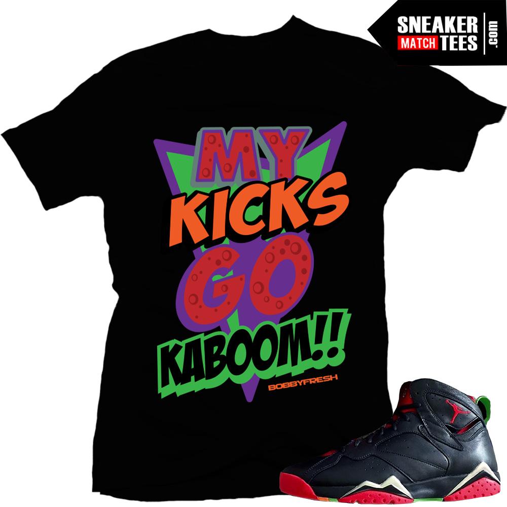 "ff7a32b520fd21 Marvin the Martian 7s matching sneaker tees shirts ""Kaboom"" Black"