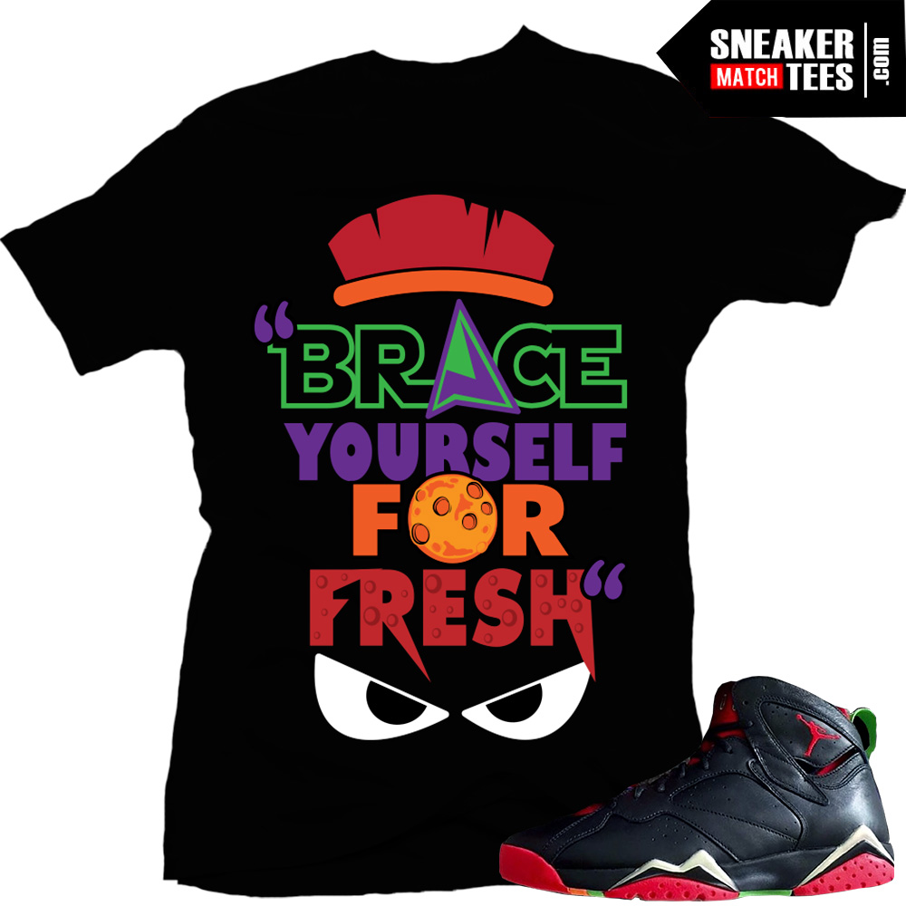 "65dd028e8c20e6 Marvin the Martian 7s matching sneaker tees shirts ""Brace yo self"" Black"