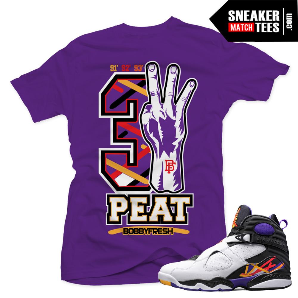 "60ee45d4bed3 Jordan 8 Three Peat shirts to match ""Three Peat Fresh"" Purple Tee"