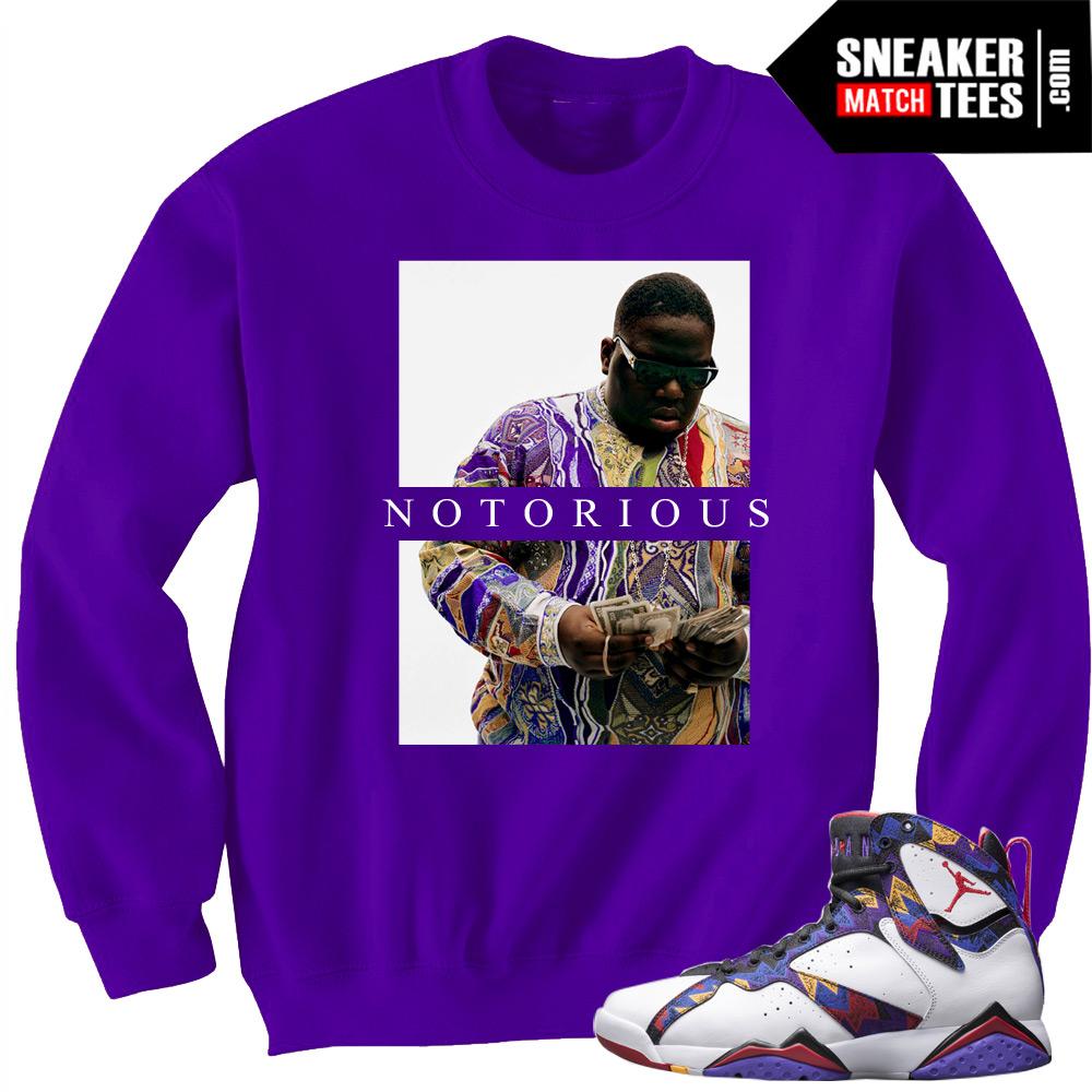 """71d999b952d Jordan 7 Sweater Crewneck to match """"Notorious"""" Purple Crewneck"""