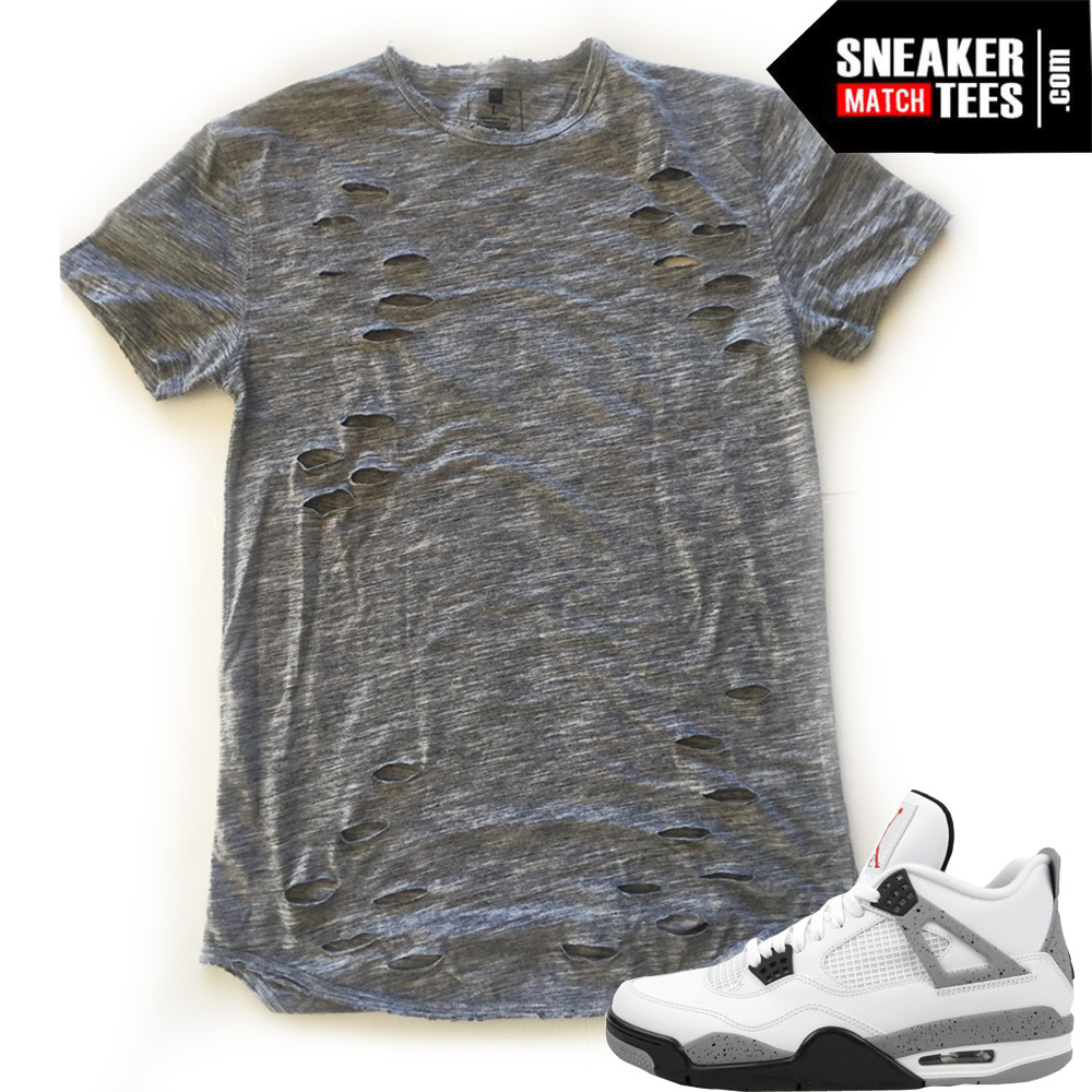 Distressed shirt Ripped Scoop shirt match Cement 4s