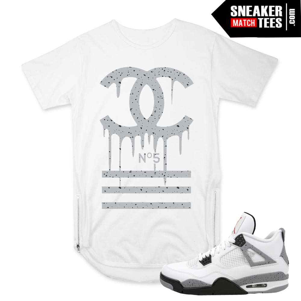 Jordan 4 Cement White OG match Scoop Zipper tee shirt