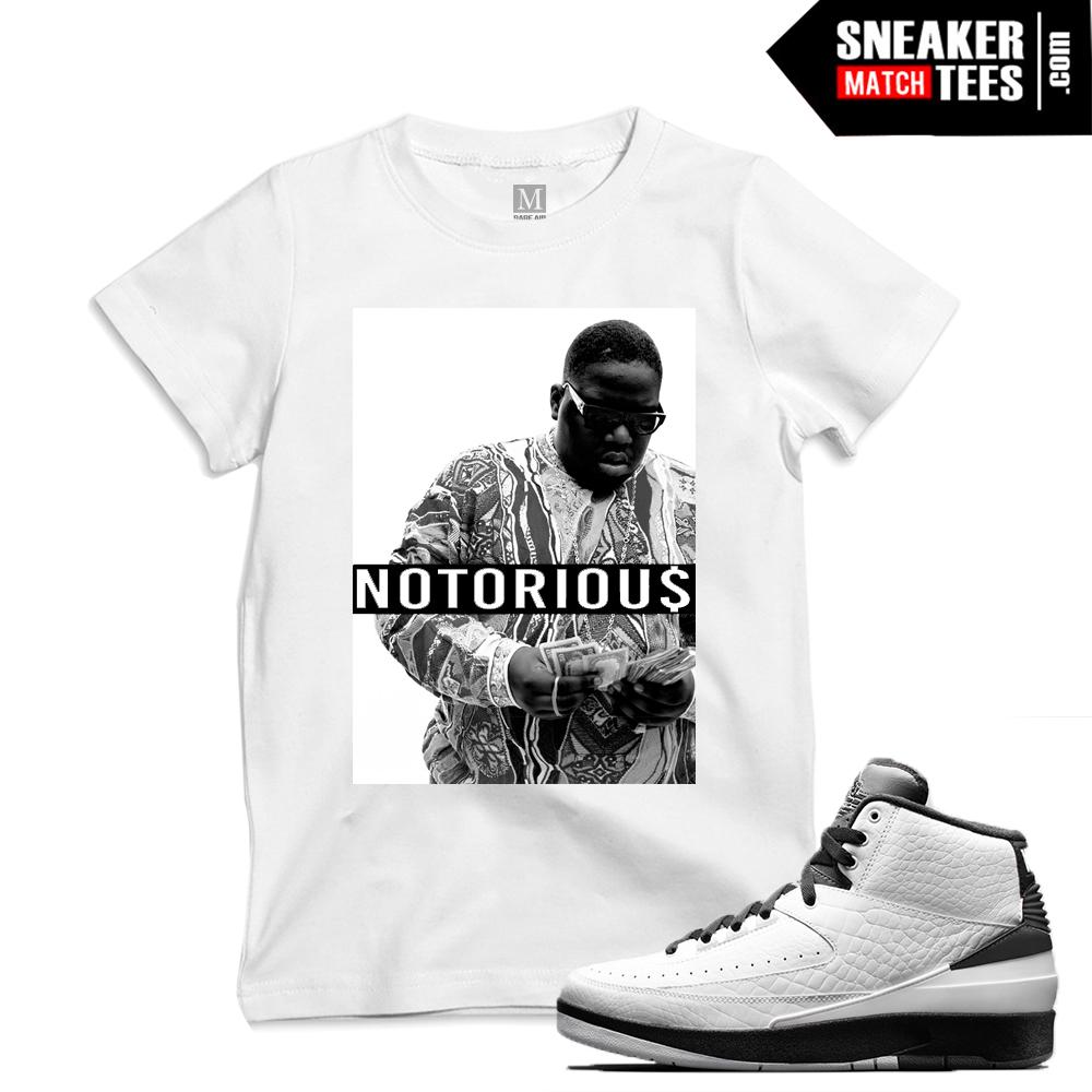 "afc5a7f15ef Match Air Jordan 2 Wing it| ""Notorious"" | White T shirt"