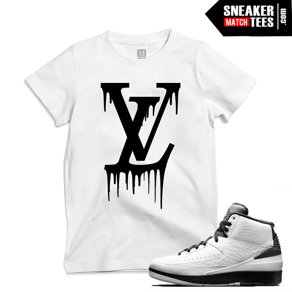 "13e8cad8ec6 Match Air Jordan 2 Wing it| ""LV Drip"" | White T shirt"