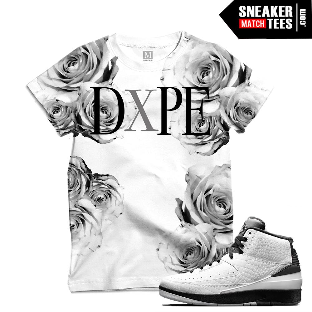 "4e352a70b1d Match Air Jordan 2 Wing it| ""DxPE White Roses"" | Sublimated T shirt"