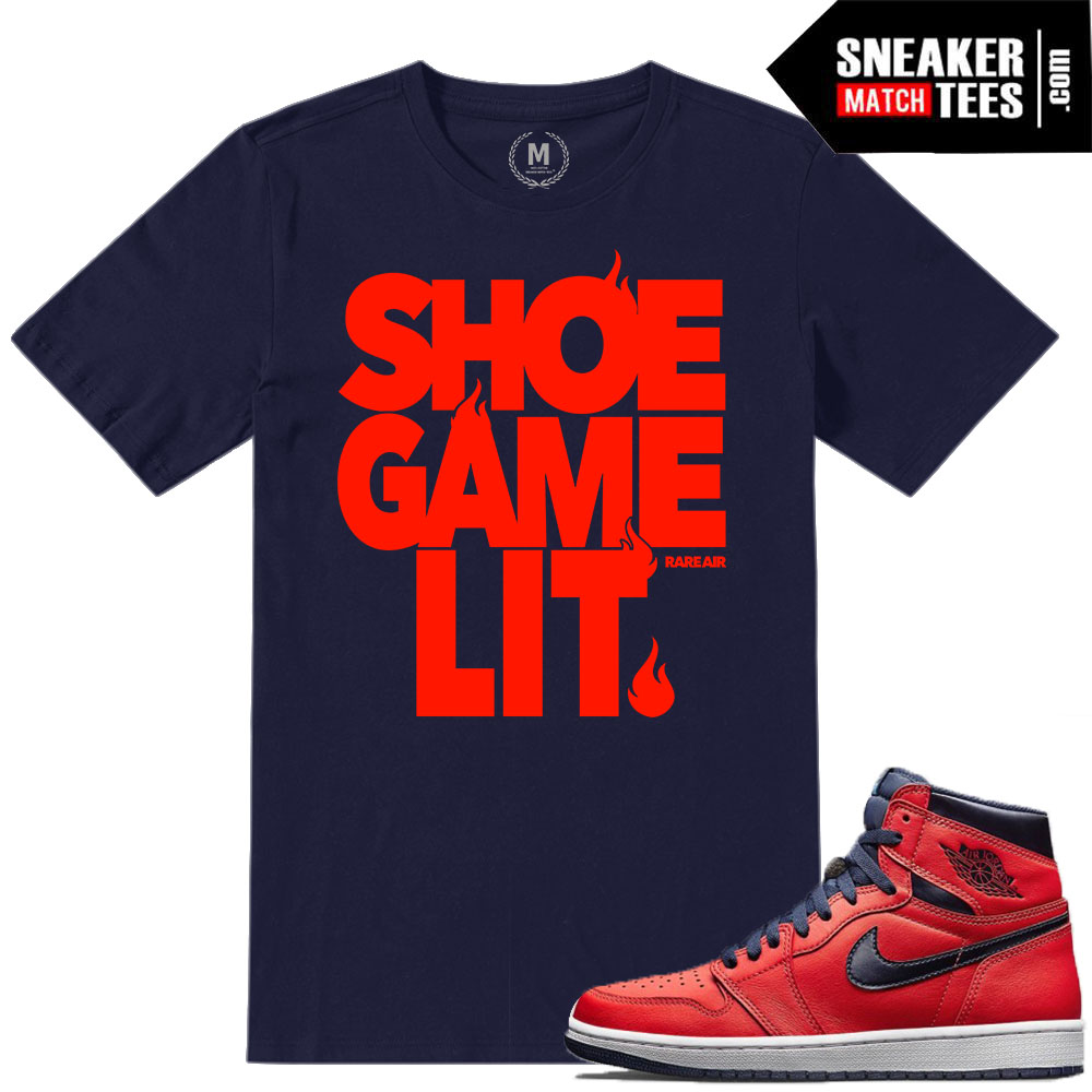 super popular 1cb1e 8648f Match Jordan 1 Letterman | Shoe Game Lit | Navy T shirt