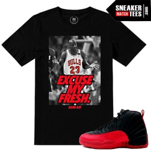 Match Jordan 12 Flu Game 12s Sneaker tee shirts