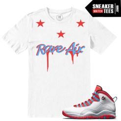 Sneaker tees match Jordan 10 Chicago Flag