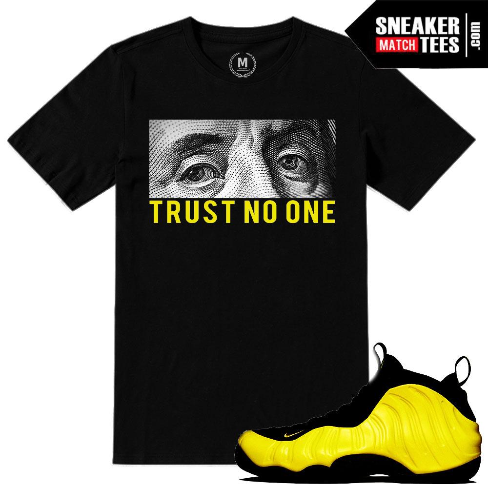 """online retailer 9c902 3e118 Wutang Foamposite shirts to match """"Trust No One"""