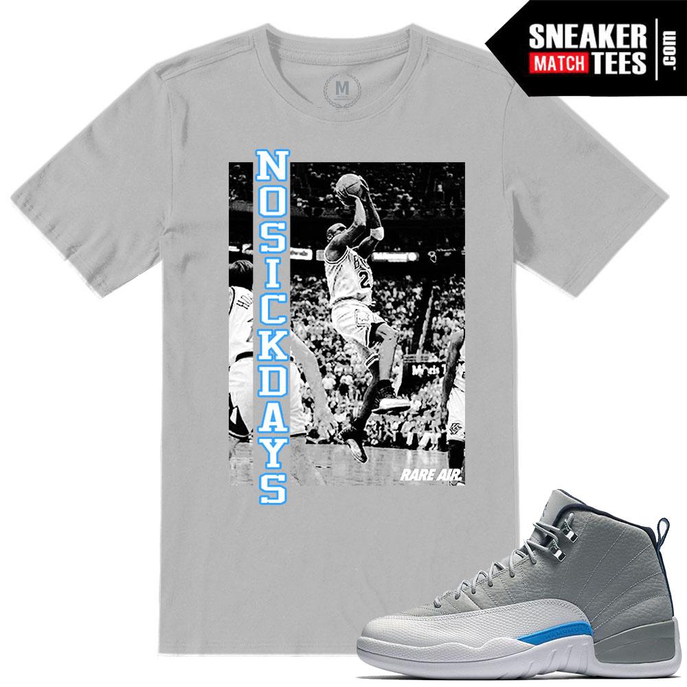 0f78573ae844 Jordan Retros T shirts Match Wolf Grey 12s UNC