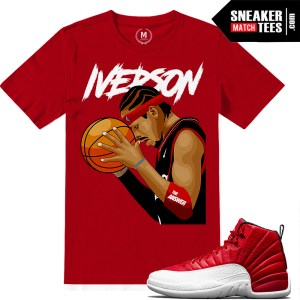 Match Jordan 12 Gym Red shirt