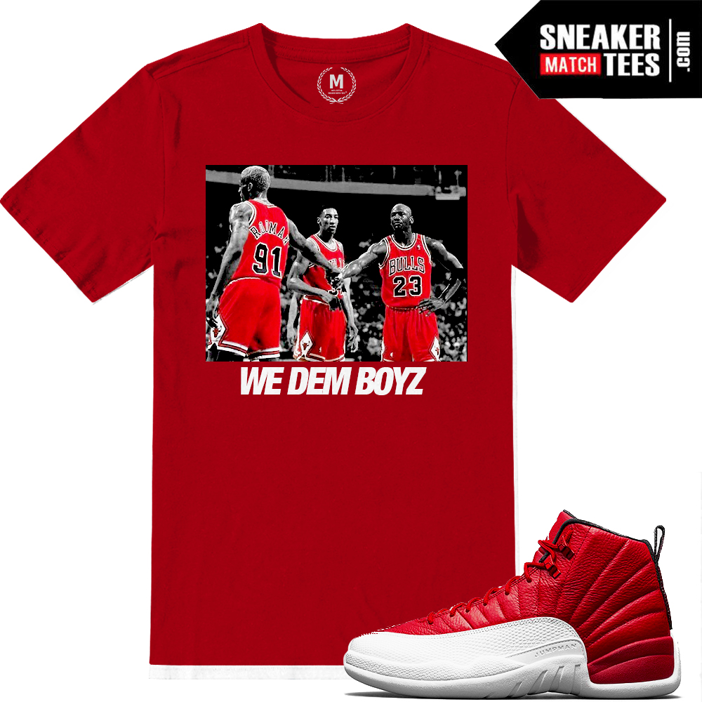 competitive price c16c3 ef3b9 Match Gym Red 12 Jordan Retros | We Dem Boyz | Red T shirt