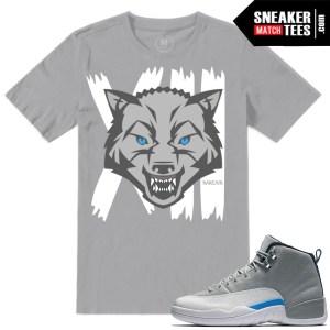 Sneaker Match UNC Wolf Grey 12s Tshirts