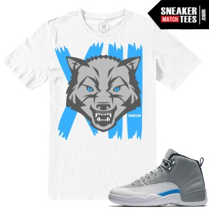 UNC Wolf Grey 12s Matching sneaker tees