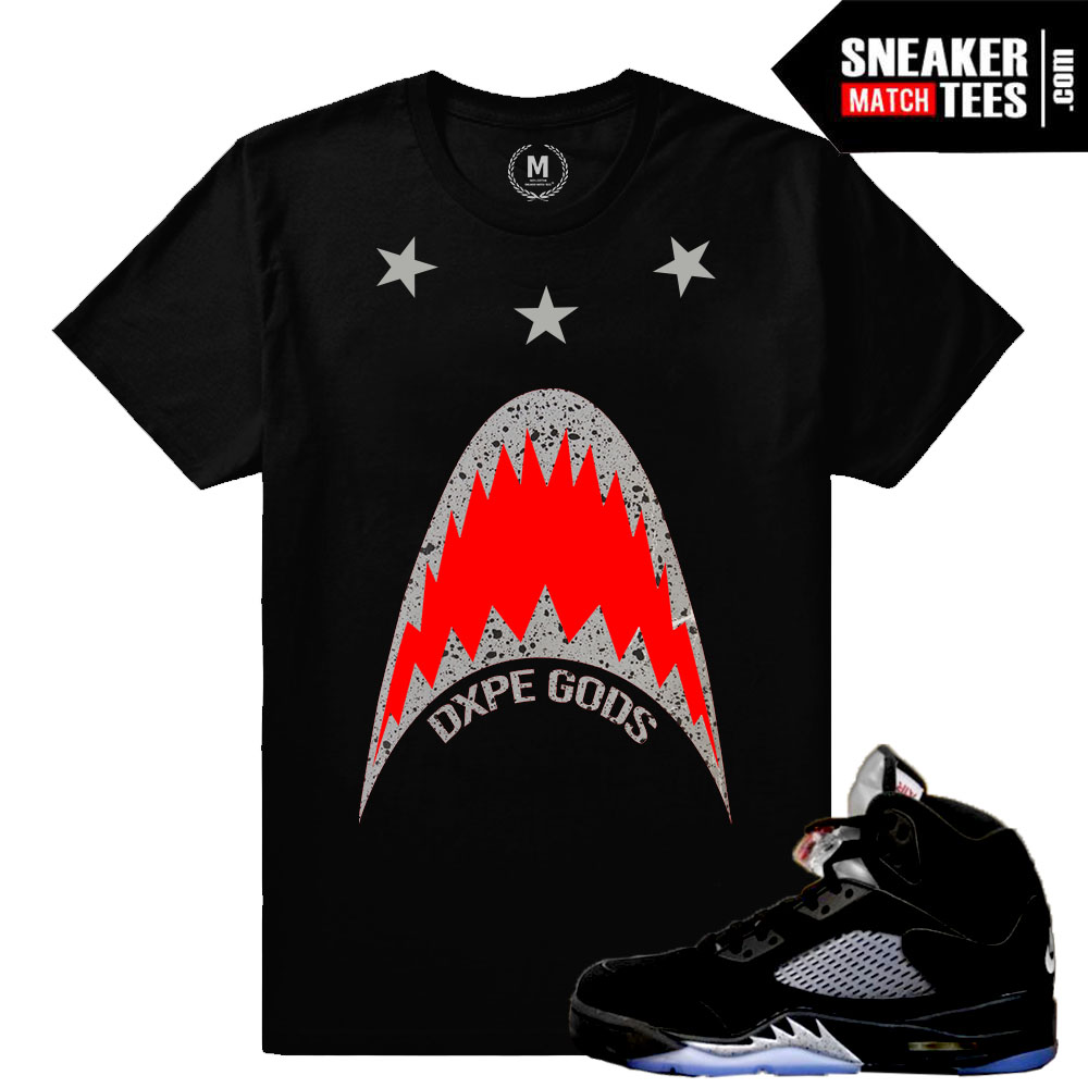 93856f73175 Jordan 5 Black Metallic OG T shirts Match Retro Jordan
