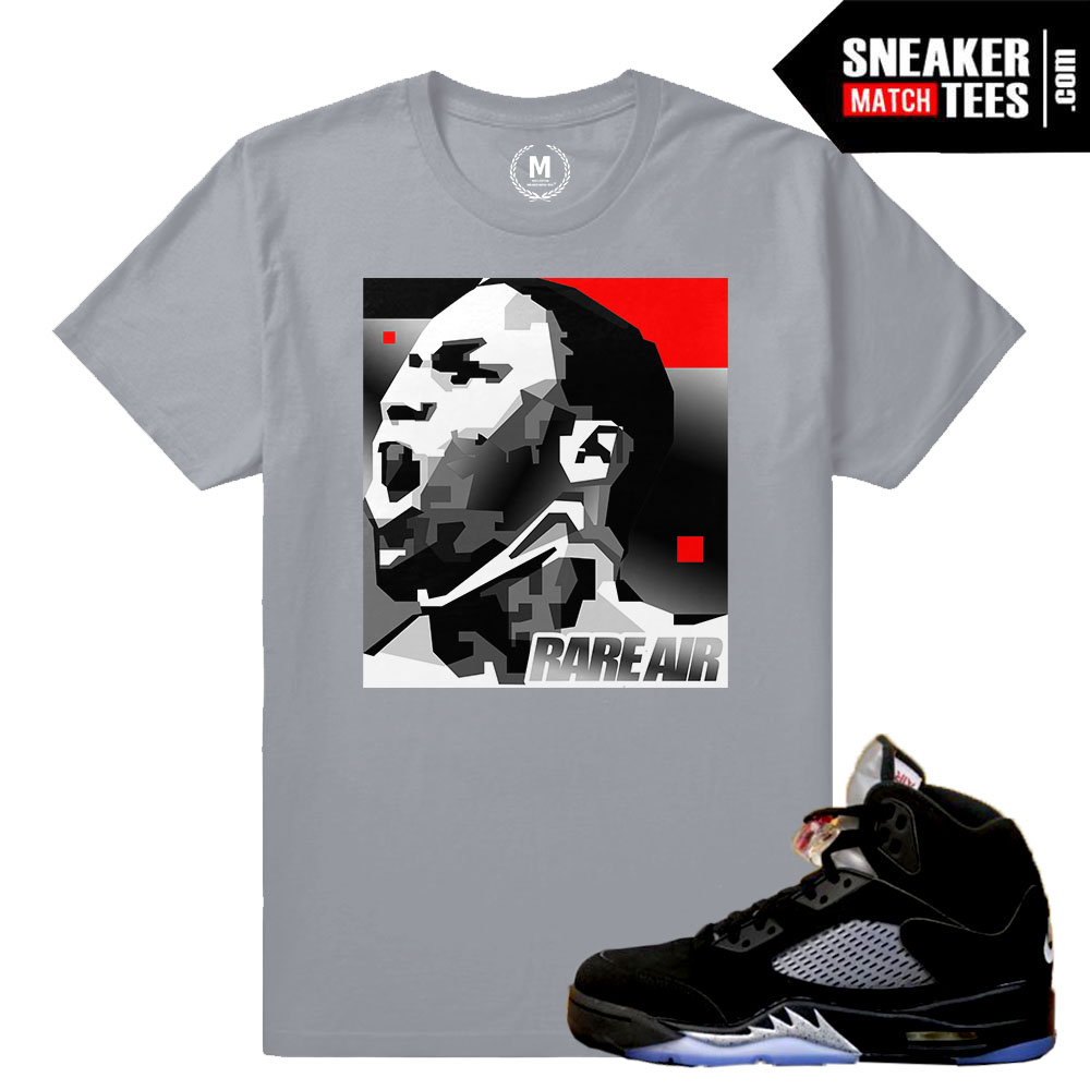online store 9b0f9 231ae Match Jordan 5 Black Metallic OG | MJ MonoChrome | Grey T shirt